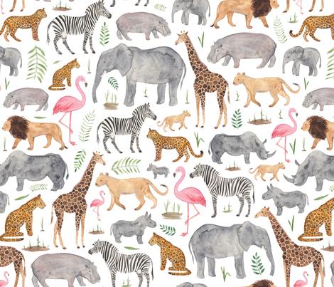African Safari Animals fabric by elena_o'neill_illustration_ on Spoonflower - custom fabric