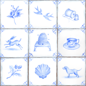 Blue and White Delft Tile Design