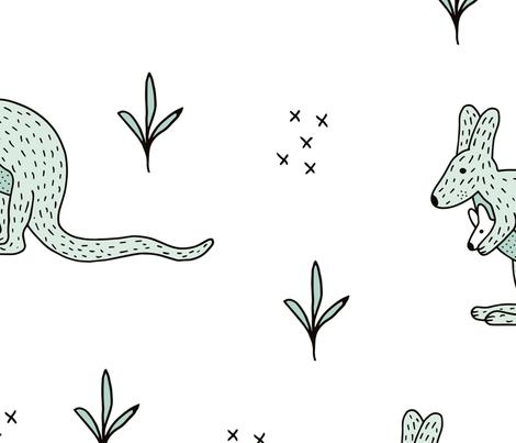 Sweet Kangaroo down under Australian animals  kids design mint gender neutral jumbo fabric by littlesmilemakers on Spoonflower - custom fabric