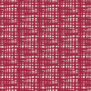 17-08AK Red Garnet Plaid on Cream Textured Solid  Large Scale Jumbo _ Miss Chiff Designs