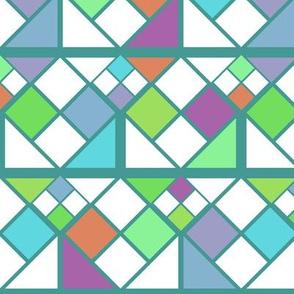 Geometric Rubiks Cubes Digital Block Pattern - Green & Blue