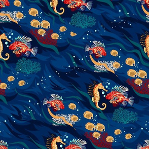 Seamless Pattern with Ocean Animal