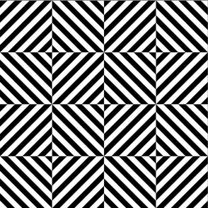 Geometric Block Stripes - Black & White