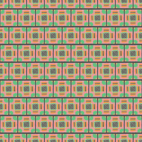 Green and Pink Detailed Tiles Pattern