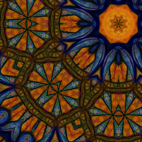 Blue and Yellow Sketchy Kaleidoscope