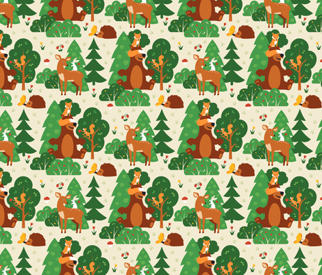 Forest friends fabric by brazhnikova_ekaterina on Spoonflower - custom fabric