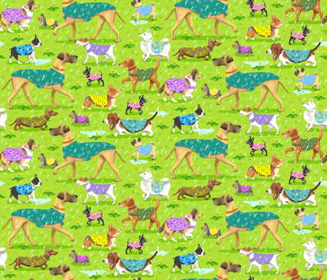 Raincoat Dogs Small fabric by vinpauld on Spoonflower - custom fabric
