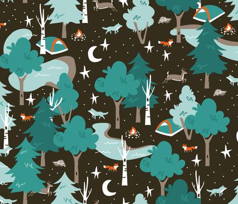 Among the Trees, Beneath the Stars fabric by papercanoefabricshop on Spoonflower - custom fabric
