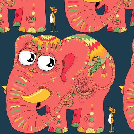 colorful Indian elephant and mouse, large scale fabric by amy_g on Spoonflower - custom fabric