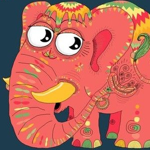 colorful Indian elephant and mouse, large scale, teal green pink orange yellow