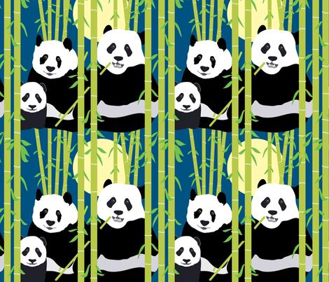 Bamboo Pandas fabric by kittenmoonstudio on Spoonflower - custom fabric