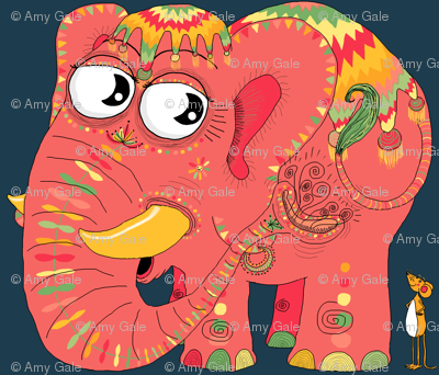 colorful Indian elephant and mouse, small scale, teal green yellow orange pink