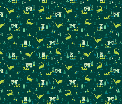 Cryptid Cuties: The Loch Ness Monster fabric by therewillbecute on Spoonflower - custom fabric
