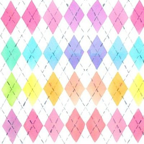 watercolor rainbow argyle