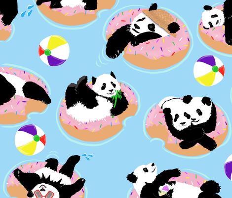 Panda's Day at the Beach fabric by jenniejoyce on Spoonflower - custom fabric