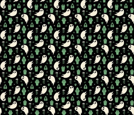 Stay Spooky (Green) fabric by therewillbecute on Spoonflower - custom fabric