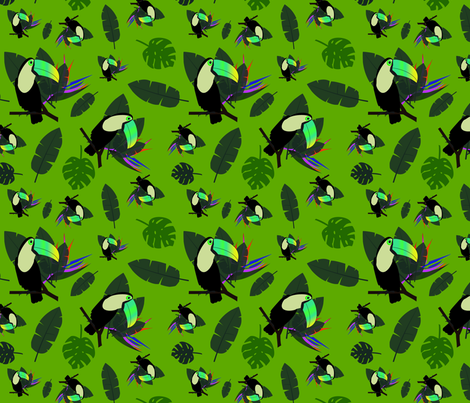Green Tucan fabric by loulii on Spoonflower - custom fabric
