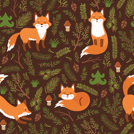 Little fox in the forest.  fabric by magicforestory on Spoonflower - custom fabric