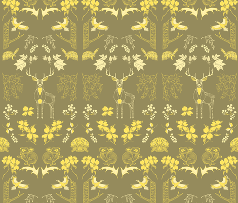 Piedmont Kingdom Wallpaper, in Gold  fabric by katie_hayes on Spoonflower - custom fabric