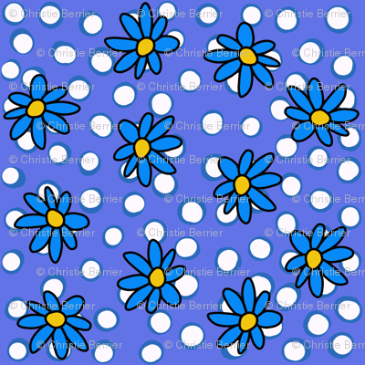 Daisy Dots Blue and Periwinkle