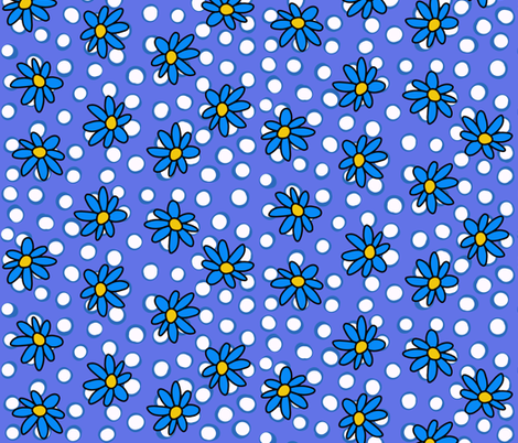 Daisy Dots Blue and Periwinkle fabric by christiebcurator on Spoonflower - custom fabric