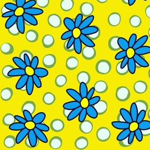 Daisies and Dots: Olive Yellow and Blue