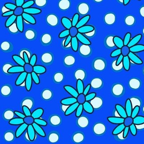 Brighter Blue Daisies and Dots