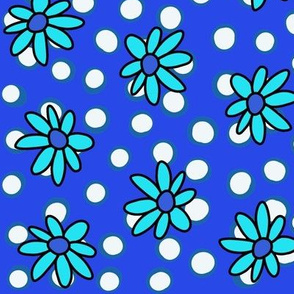 Daisies and Dots: Blue on Blue