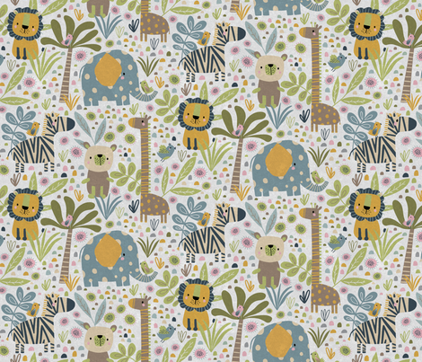 Animals on Safari in white fabric by red_raspberry_designs on Spoonflower - custom fabric
