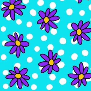 Daisies and Dots: Purple and Blue No double ring