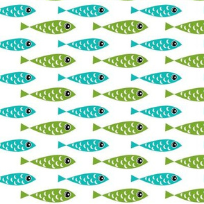 Blue and green fish stripe