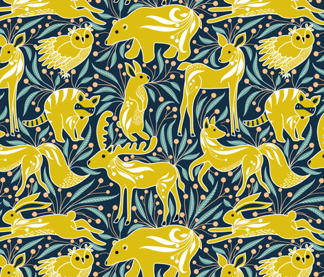 meadow animals  fabric by vo_aka_virginiao on Spoonflower - custom fabric
