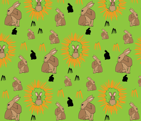 Rabbits and carrots fabric by evy_v_design on Spoonflower - custom fabric