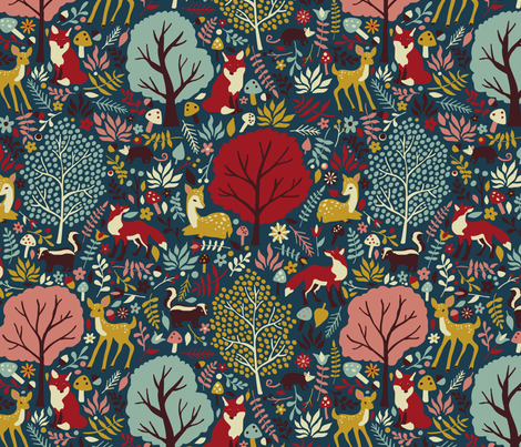 Forest Friends - teal fabric by diseminger on Spoonflower - custom fabric