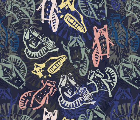 Happy raccoons fabric by talanaart on Spoonflower - custom fabric