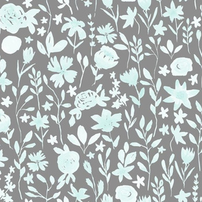 Watercolor Light Blue Floral in Gray