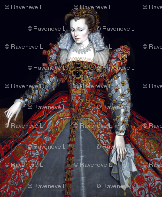 Queen Elizabeth 1 inspired princesses Queens renaissance tudor big lace ruff collar baroque pearls red silver gold gown crowns tiaras bows ruby rubies necklaces earrings applique beauty elizabethan era 16th century 17th century historical embroidery ornat