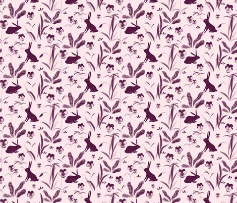 rabbits in violas fabric by kaelagraham on Spoonflower - custom fabric