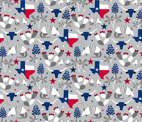 Texas State Symbols (Silver) fabric by robyriker on Spoonflower - custom fabric