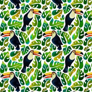 watercolor toucans with monstera leaves - small