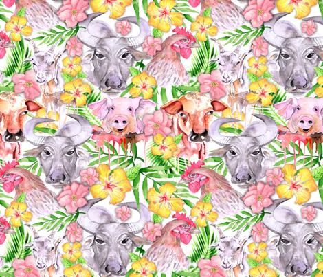 philippine farm animals fabric by pixiesandlynn on Spoonflower - custom fabric