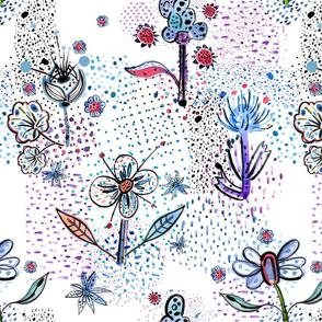 Blue flowers colorful dots