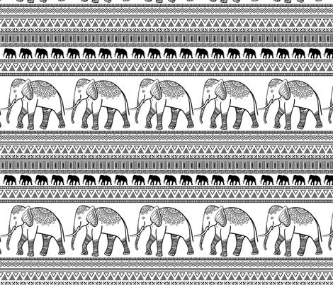 Ethnic  Elephant  fabric by elinorka on Spoonflower - custom fabric