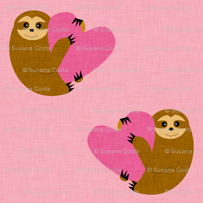 Sloth in love pink smaller size