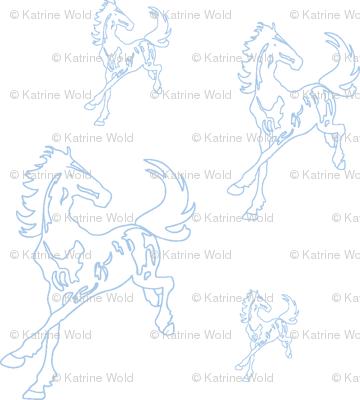 blue running horses