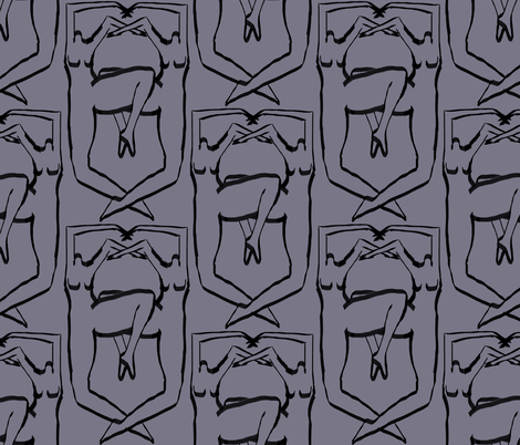 Nude Coat of Arms Blue fabric by symmetricalwoman on Spoonflower - custom fabric