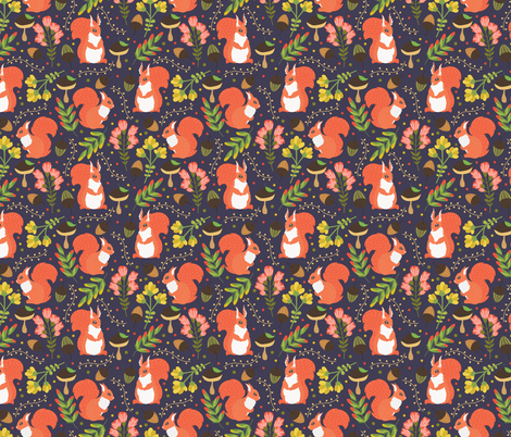 Cute squirrels purple pattern fabric by juliabadeeva on Spoonflower - custom fabric