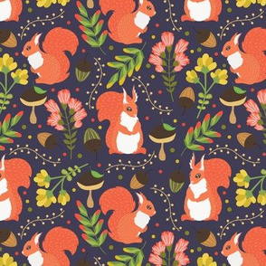 Cute squirrels purple pattern