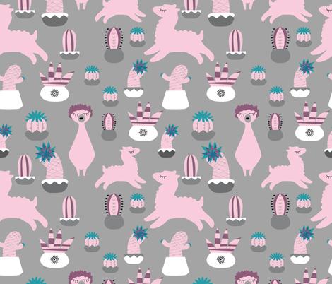 Alpaca Fun grey fabric by bruxamagica on Spoonflower - custom fabric