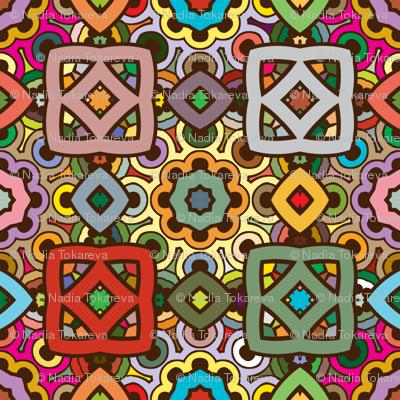zen doodle ethnic pattern in nature colors